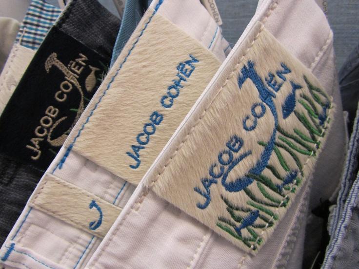 Jacob Cohen fish back label in ponyskin #JacobCohen #denim #tailoredjeans #menswear #fashion