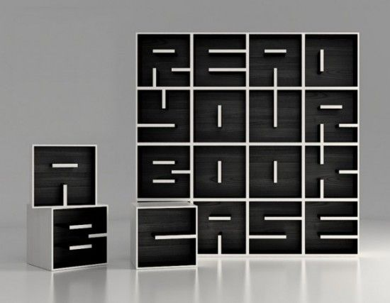 Read your bookcase   Sporiti #typography #bookshelf #want