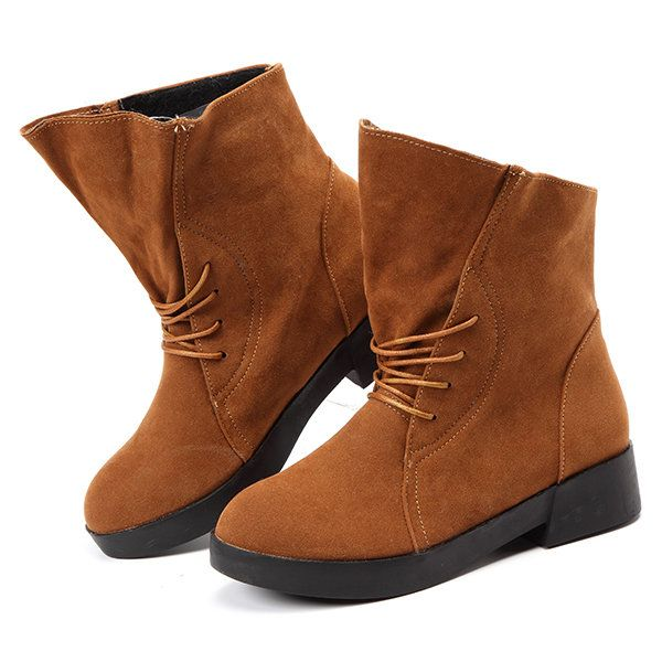 Large Size Lace Up Round Toe Pure Color Ankle Boots - Banggood Mobile