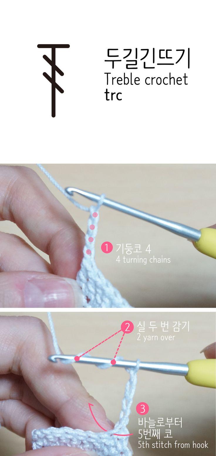 기본스티치 5. 두길긴뜨기(Treble crochet/trc) : 사슬 4개만큼의 높이를 가진 스티치. 지금부터는 높이 ...