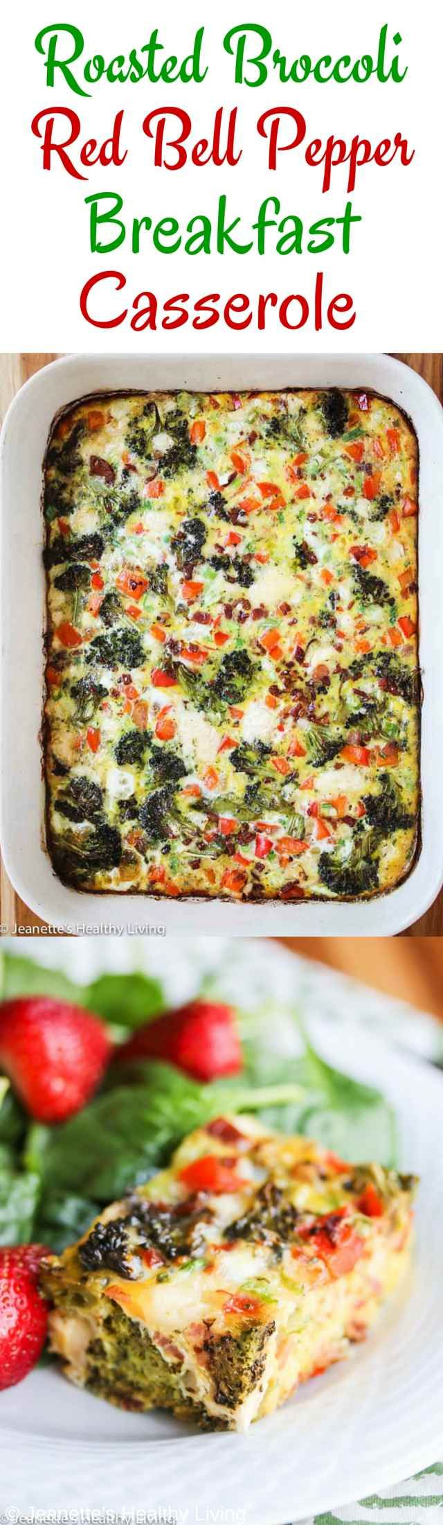 Roasted Broccoli Red Pepper Breakfast Casserole - great for a crowd at brunch! ~ http://jeanetteshealthyliving.com