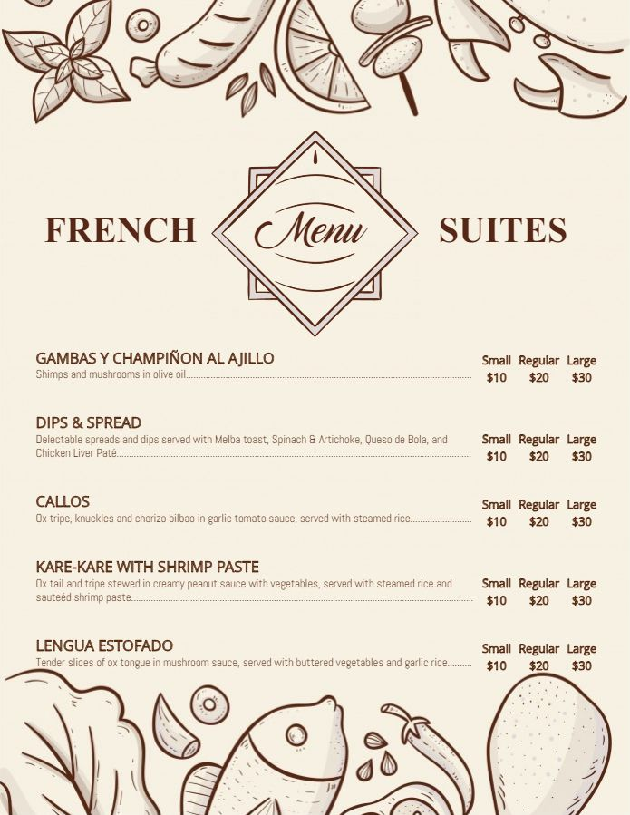 French Cafe Menu Template And Background French Menu Templates
