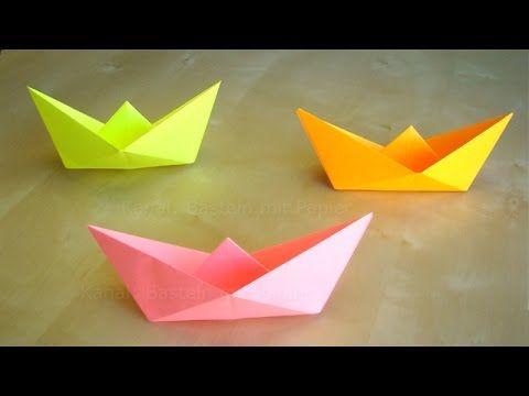Papierschiff falten - Basteln mit Kindern - Leichtes Origami Boot - Bast...