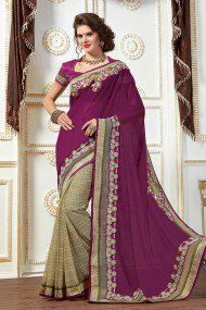 Ashika Georgette and Jute Party Wear Designer Saree In Purple and Grey Colour