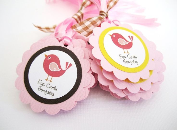 Here+are+sweet+little+bird+gift+tags,+personalized+just+for+you.+In+each+set,+you+will+receive+12+Bird+Gift+Tags+with+your+own+text+on+the+bottom.+Whether+it+is+a+birthday+or+a+baby+shower,+these+gift+tags+are+perfect+to+adorn+your+favors.    Each+of+these+bird+gift+tags+is+adorned+with+pretty+pi...