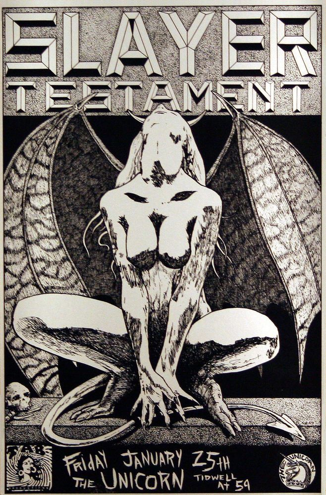 Slayer Testament 1991 Original Concert Gig Poster by Frank Kozik #Kozik #slayer #testament  Link to Rock on Collectibles: http://stores.ebay.com/Rock-On-Collectibles/Modern-Rock-Art-Posters-/_i.html?_fsub=5714931&_sid=70220124&_trksid=p4634.c0.m322