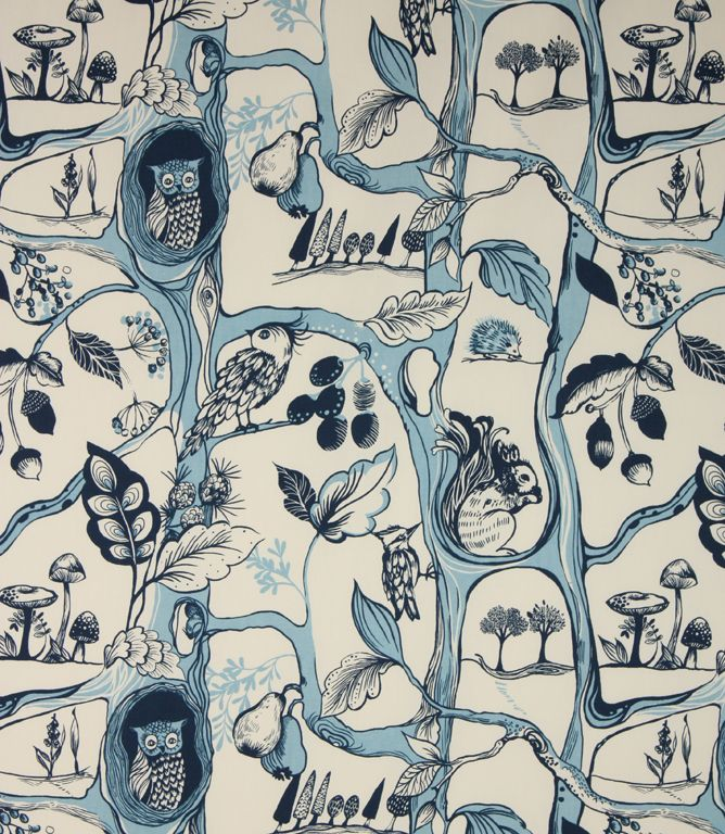 Quirky contemporary design featuring squirrels and owls in a woodland scene. Made from 100% cotton. This fabric is suitable for blinds, curtains and cushions. Our online store and shops in Burford and Cheltenham have huge stocks of discount curtain and upholstery fabrics.