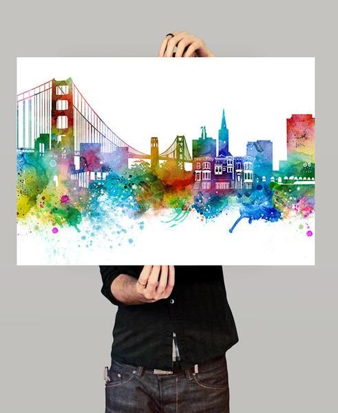 San Francisco Skyline, San Francisco Wall Art, San Francisco Poster, Cityscape Art Print, City Wall Art, Cities Skylines, Watercolor (260)