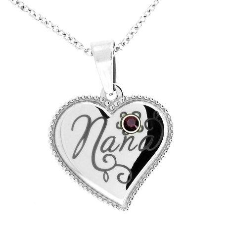 Stainless Steel Nana Heart Shaped Pendant January Garnet -