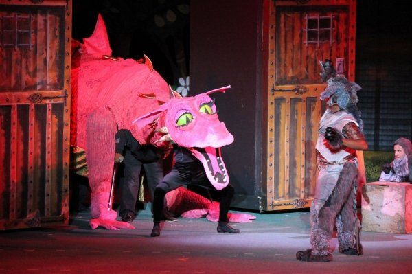 "a Dragon made for a Production of Shrek, at the MUNY in St Louis , 2 week build, low budget, she is performed by 9 puppeteers. . made with Micro pore foam, and spandec, popcorn fabric, PVC, and numerous other ""findings"""