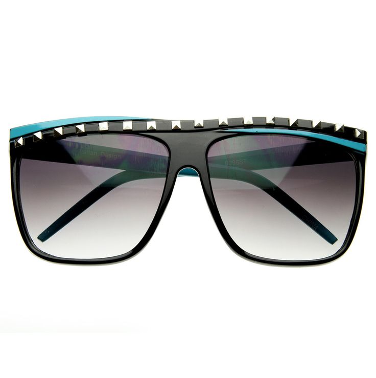 Celebrity Studded Party Rock Clubbing Neon 80s Retro Horn Rimmed Sunglasses