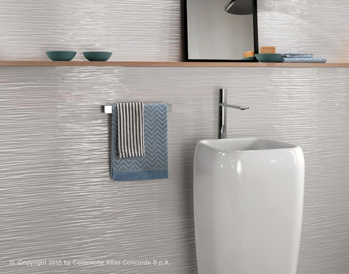 Rivestimento ceramico 3d wall design wave pavimenti e rivestimenti bagno atlas - Rivestimenti bagno design ...