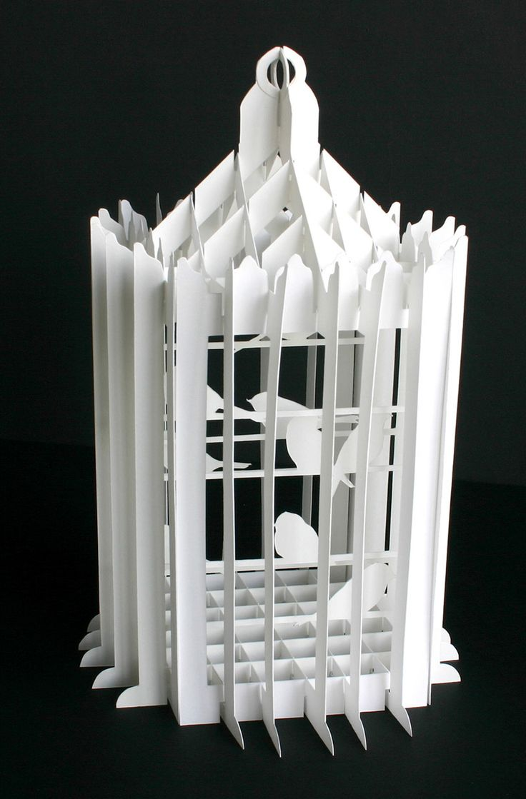 """Collapsible paper birdcages, built from sliceforms. Cut and assembled by hand. Inspired by the paper creations of Masahiro Chatani  Various sizes, up to 12"""" Unique set 2011"""