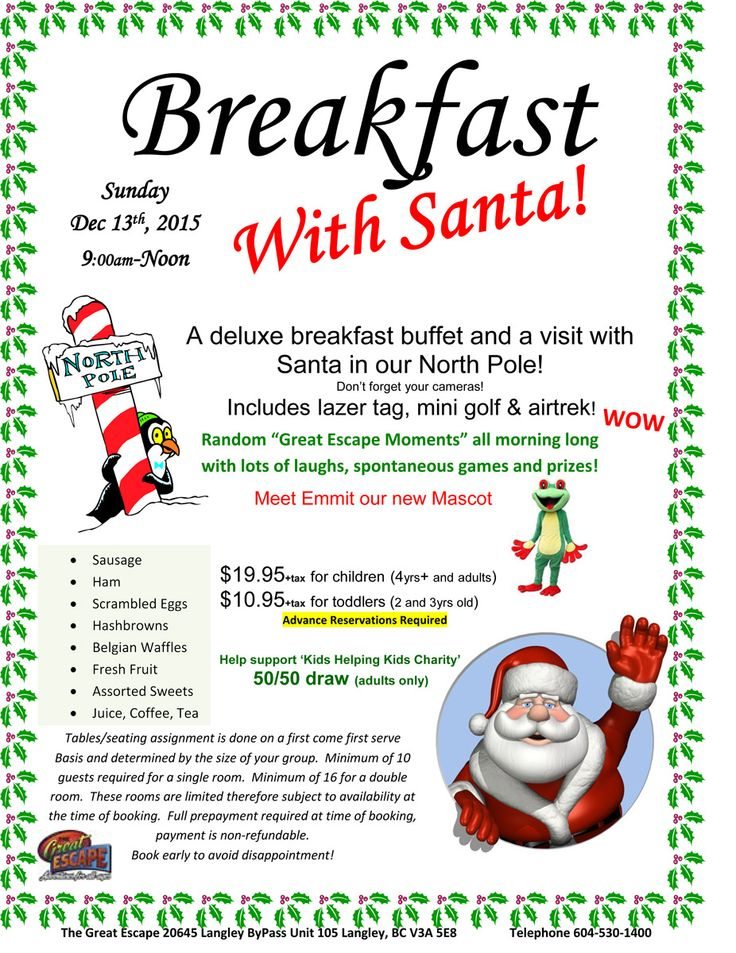 Breakfast with #Santa in #Langley #BC - fun for the whole family. December 13th, 2015 #GreatEscape #Christmas2015