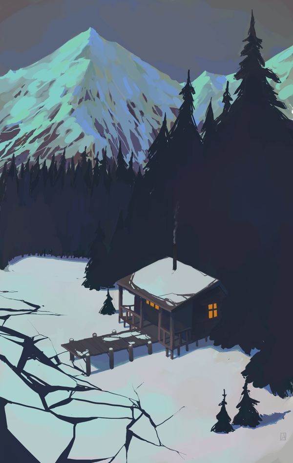 Forest-snow by Andrey Osadchikh, via Behance Illustration snow lanscape at night