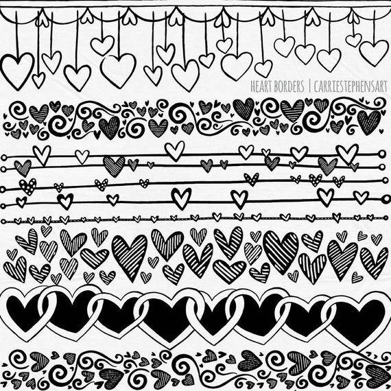 Line Heart Border Clipart Heart Digital Stamps Printable Etsy Clip Art Borders Heart Doodle Heart Border