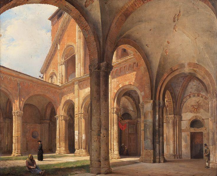 Giovanni Migliara - Porticato dela Basilica di Sant'Ambrogio
