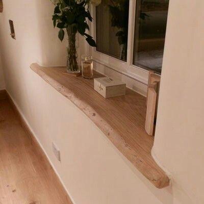 Wooden windowsill, white window frames