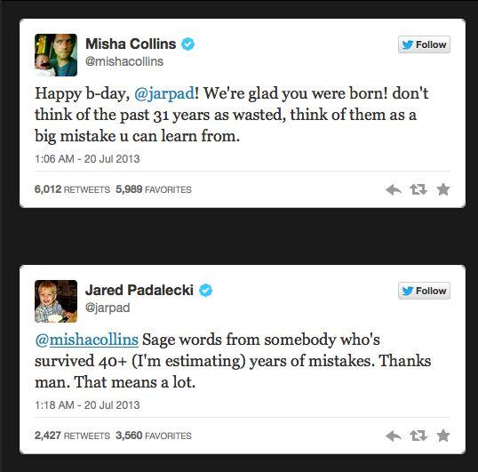 More fun tweets between Jared and Misha ;)