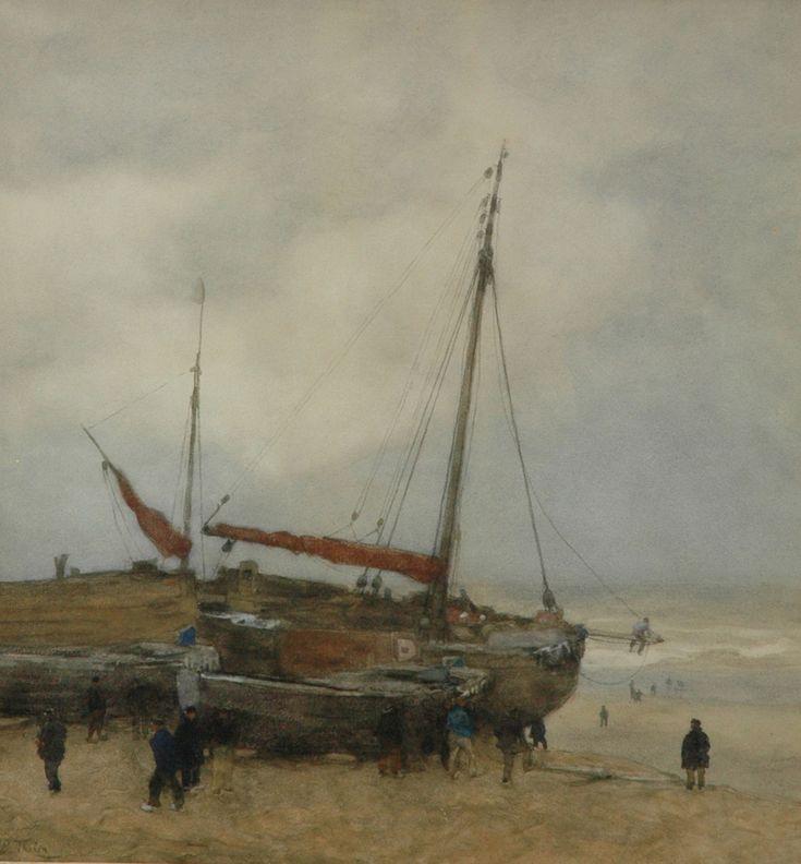 Willem Bastiaan Tholen - Bomschuiten op het strand van Scheveningen, aquarel