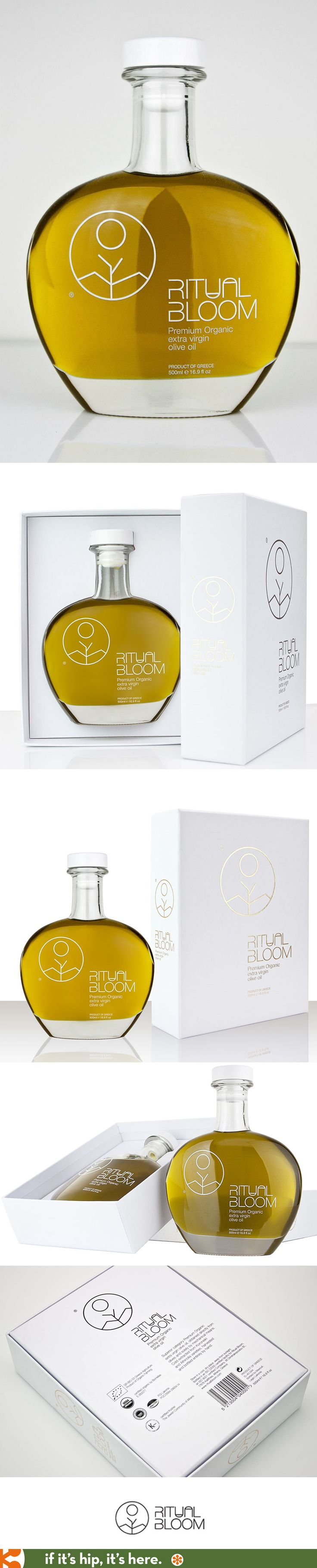 Ritual Bloom's Premium Organic Olive Oil comes in a heart shaped bottle.