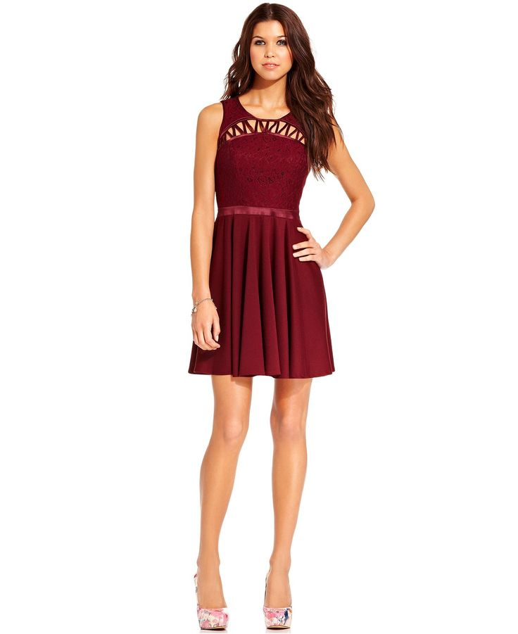 Chord Juniors Dress Sleeveless Lace Cutout Juniors