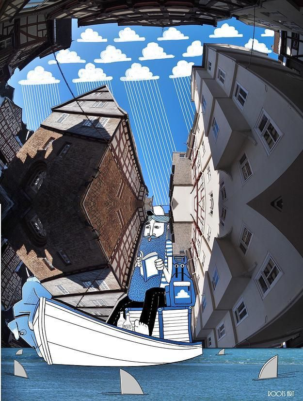 """When you're surrounded by buildings on all sides, what do you see? French artist Lamadieu Thomas takes claustrophobia-inducing photographs of urban landscapes through a fish-eye lens, framing the sky with rooftops and filling the negative space with playful illustrations. Thomas describes his whimsical approach to art as an attempt to show """"what we can construct with a boundless imagination"""" and """"a different perception of urban architecture and the everyday environment around us."""""""