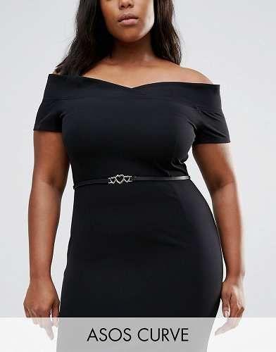 Prezzi e Sconti: #Asos curve cintura sottile con cuori nero taglia It 58it 54  ad Euro 7.49 in #Asos curve #Female saldi accessori