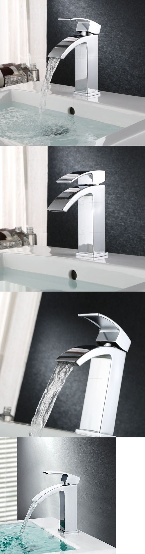 Bathroom sink faucet one hole double handle basin mixer tap ebay - Faucets 42024 Bathroom Basin Waterfall Faucet Vanity Sink Spout Wash Single Handle Mixer Taps