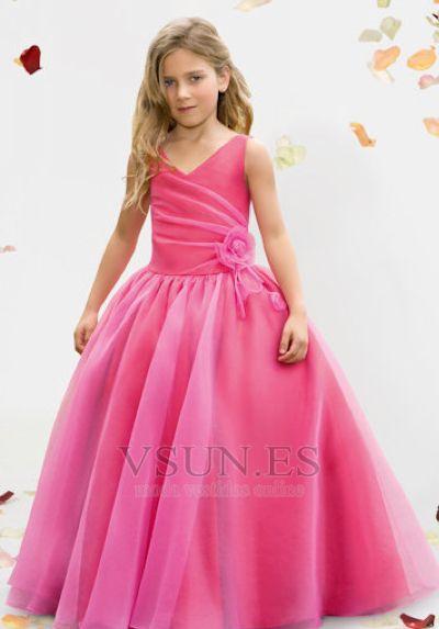 Vestido niña ceremonia color de rosa Malla Tejido 2015 14 Años de edad Organza