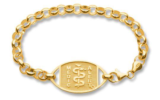 9ct Gold Belcher Bracelet - Standard Emblem | Australia MedicAlert Foundation #medicalert #medical_ID #medical_bracelet #medical_bracelet #safety