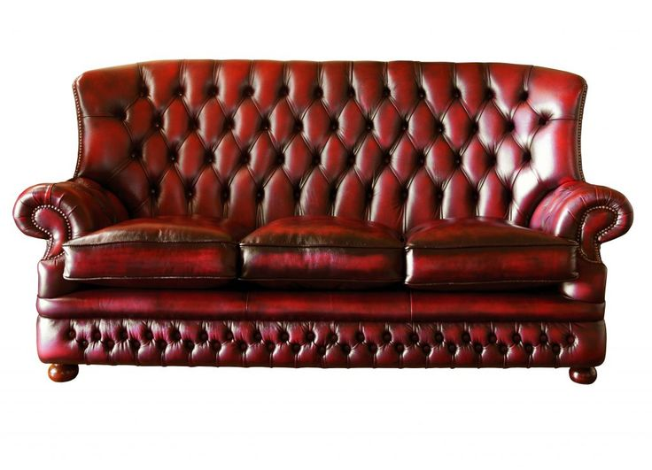 Living Room Furniture Red Maroon Leather Sofa With Tufted Height Back Red  Leather Couches