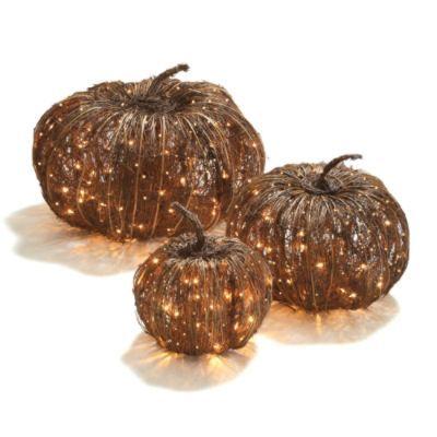 Pre-lit Grapevine Halloween Pumpkins