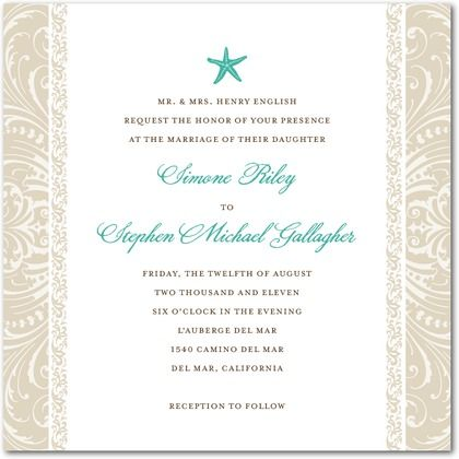 love this beach themed invite.  sand colored damask along sides and a perfect touch of turq