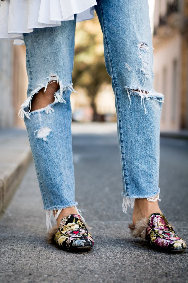 OUTFIT Gucci Princetown floral-brocade loafers