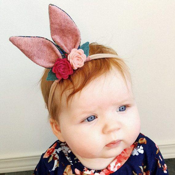 Bunny ears headband || Bunny ears || Hair accessories || Easter || Baby headband || Baby girl || Felt flower headband ||