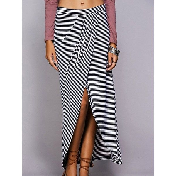 Striped Maxi Skirt With High Slit ($17) ❤ liked on Polyvore featuring skirts, blue stripe maxi skirt, high-slit skirt, blue maxi skirt, high-slit maxi skirts and blue stripe skirt