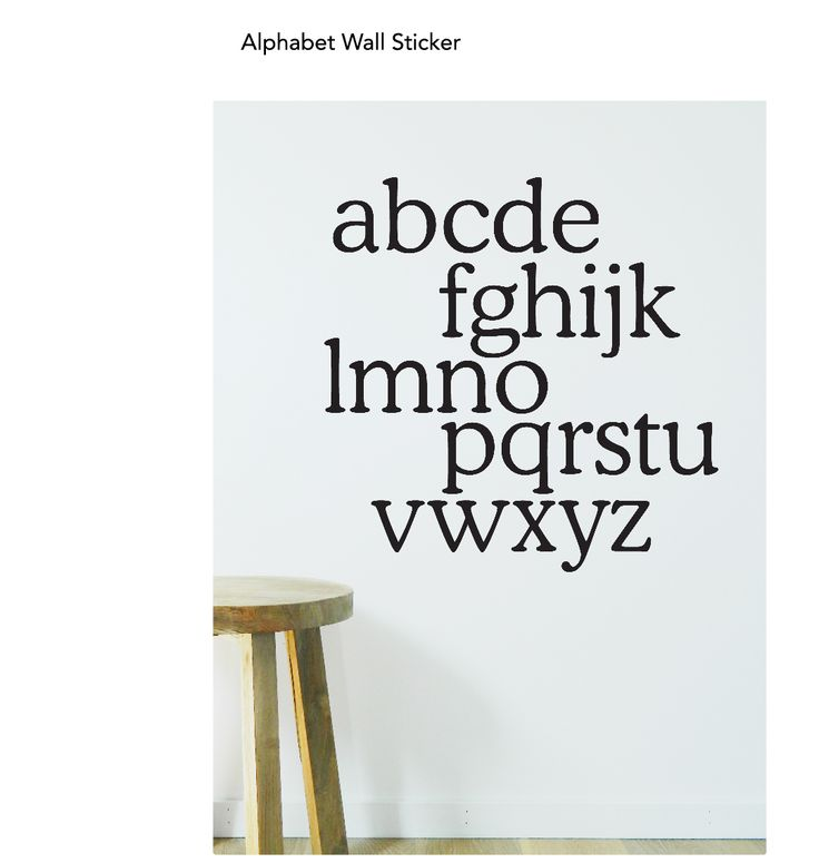 Help your kids learn their ABC's with this alphabet wall decal from Moonface Studio. Quick and easy to apply & comes in lots of colours.  Great if you are renting as can be easily removed. 55 x 55cm. https://www.moonfacestudio.com.au/product-page/alphabet-vinyl-wall-sticker-decal