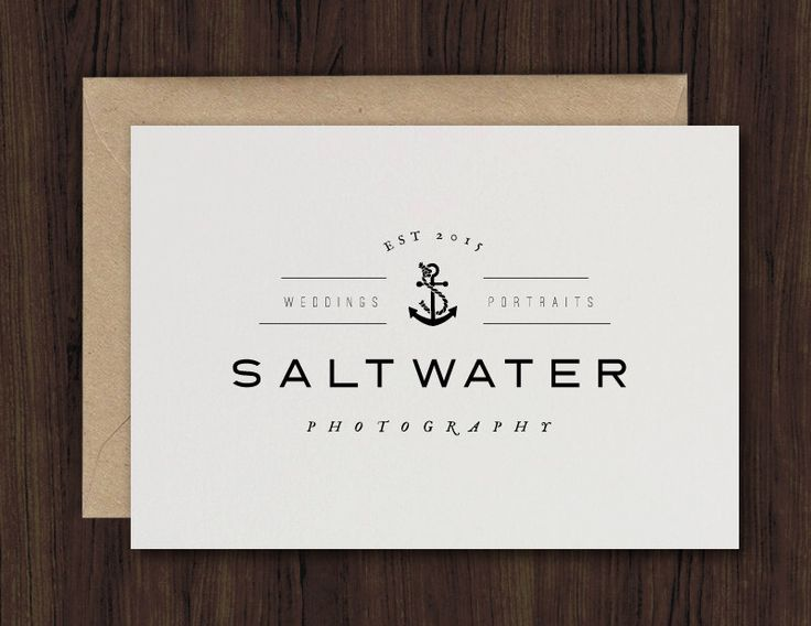 Nautical photography logo design   premade template marketing branding anchor vintage hipster modern digital –SALTWATER by HeartenCreative on Etsy https://www.etsy.com/listing/237278666/nautical-photography-logo-design-o