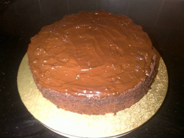 My dense chocolate birthday cake for 2013. Only a small slice with double Elmlea . . . beautiful!!