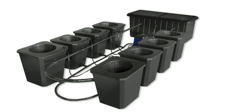8-Site Bubble Flow Buckets Hydroponic Grow System