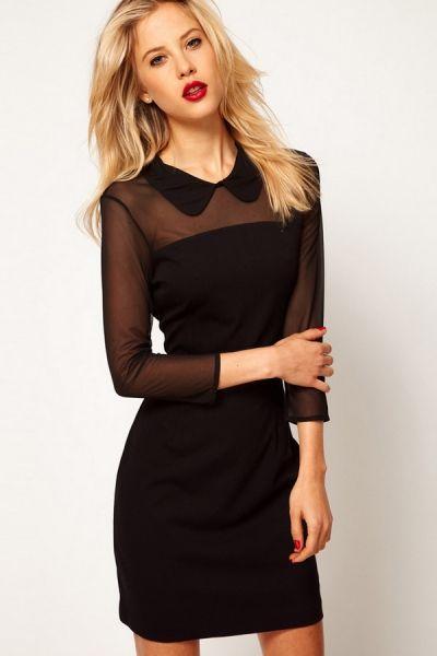 Semi Sheer Top Long Sleeve Dress OASAP.com