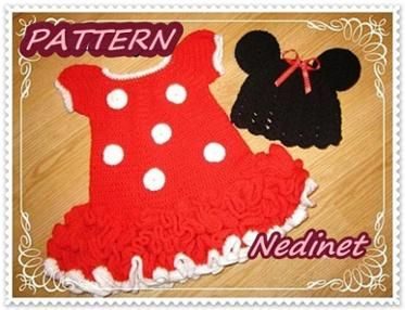 Crochet baby dress pattern, Minnie Mouse 12-24 m