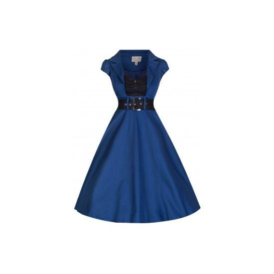Retro šaty Lindy Bop Geneva Midnight Blue Šaty ve stylu 50. let. Nádherné šaty v tmavě modré barvě s černou vsadkou ve výstřihu a černým páskem, krásně padnou, strečová bavlna, skryjí drobné nedostatky na postavě. Doporučujeme doplnit spodničkou, kterou najdete v nabídce.