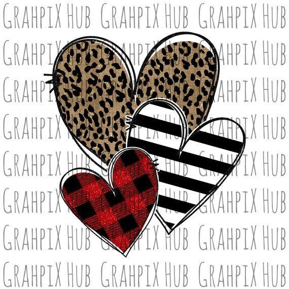 Leopard Plaid Stripe Hearts Png Sublimation Design Digital Download Sublimation Dtg Printing Cricut Projects Vinyl Vintage Valentine Cards Cricut Creations