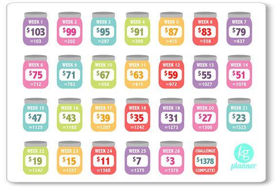 REVERSE BIWEEKLY Rainbow 52 Week Savings Challenge by KGPlanner