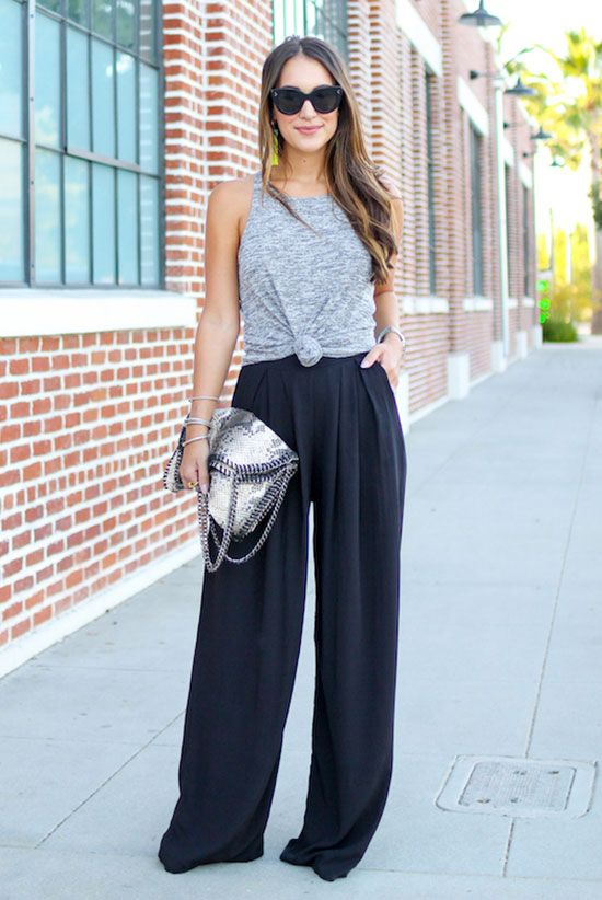 summer outfit, party outfit, casual outfit, night out outfit, summer trends 2016 - grey knotted muscle tee, black palazzo pants, black heeled sandals, black sunglasses, grey snake print bag