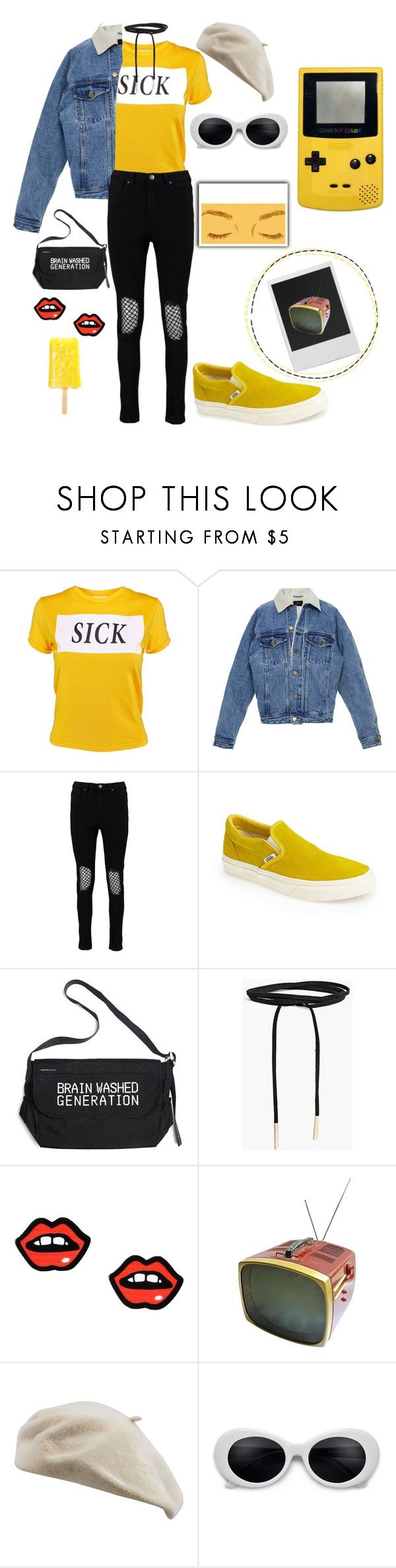 """""""*Nintendo music*"""" by lindacalderon ❤ liked on Polyvore featuring The Ragged Priest, Boohoo, Vans, Undercover, George J. Love, Polaroid and Victor"""