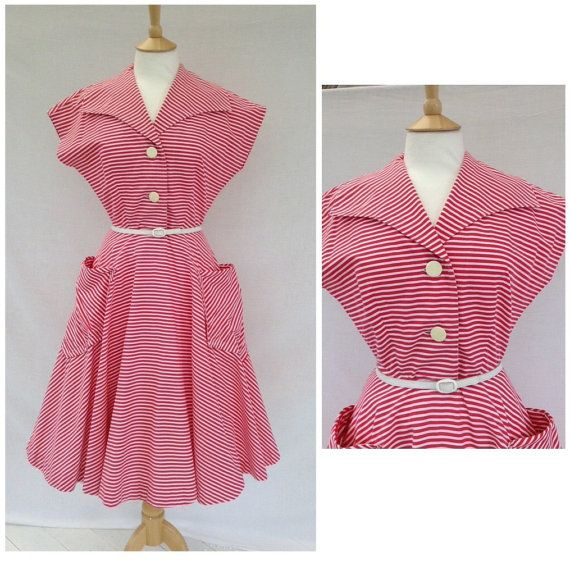 1950s Red And White Candy Stripe Dress Tea Party  by DottysVintage
