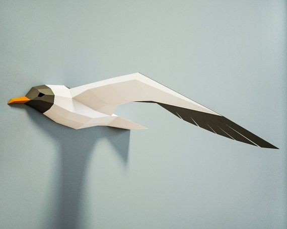 Papercraft gull 3D sculpture, DIY Paper craft template, Seagull